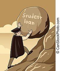 roccia, pesante, prestito, concetto, su, studente, grande, spinta, ripido, laureato, montagna