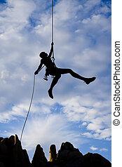 roccia, rappelling., arrampicatore