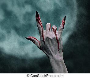 roccia, segno, halloween, mano