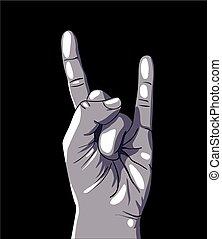roccia, segno mano, rotolo, n