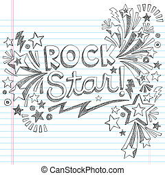 roccia, sketchy, scarabocchiare, musica, stella
