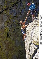 roccia, squadra, arrampicatori, summit., raggiungimento