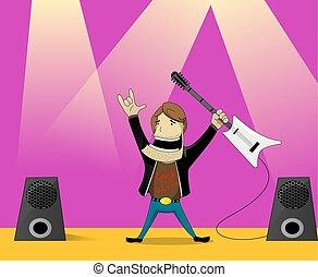 roccia, uomo, cartone animato, illustrazione
