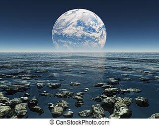 roccioso, acquoso, paesaggio, con, pianeta, o, terra, con, terraformed, luna, in, il, distanza