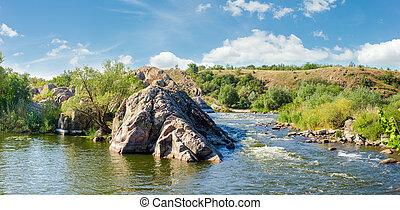 roccioso, rapids, panorama, sezione, riva, fiume