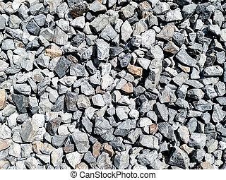 rocha, cascalho, esmagado, textura, pedaços
