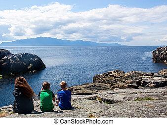 rocha, crianças, negligenciar, oceânicos