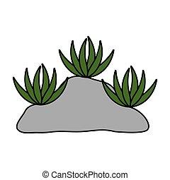 rocha, desenho, sobre, vetorial, isolado, plantas