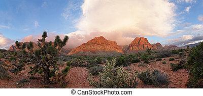 rocha, deserto, amanhecer, vermelho