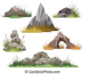 rocha, e, pedra, jogo