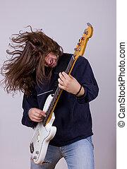 rocha, expressão, jogando baixo, músico, guitarra, elétrico