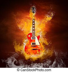 rocha, guitarra, em, chamas, de, fogo