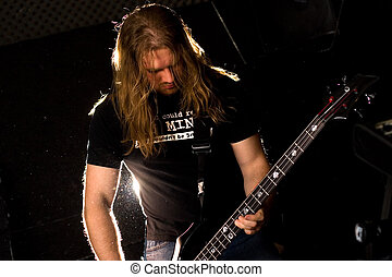 rocha, guitarrista, tocando, solo.