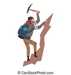 rocha, ilustração, homem, escalar montanha, vetorial, equipamento