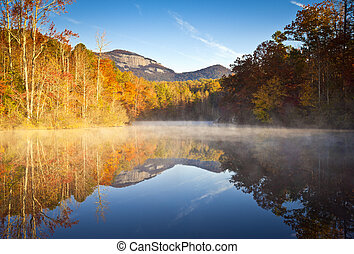 rocha, lago, paisagem outono, nevoeiro, amanhecer, foliage,...