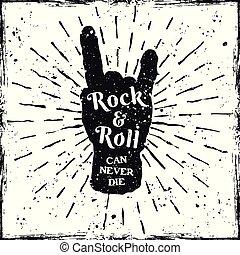 rocha, mão, música, chifres, impressão, etiqueta, ou, gesto