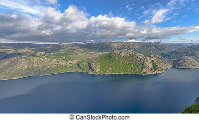 rocha, púlpito, lysefjorden, vista, noruega