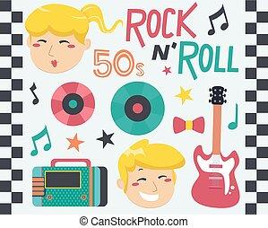 rocha, rolo, música, projete elementos, ilustração