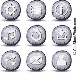 roche pierre, ui, jeu, icônes