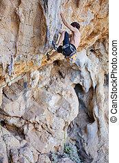 rocher, alpiniste mâle, falaise