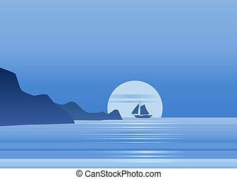 rocher bleu, vecteur, voile, illustration, voilier, nuit, océan, clair lune, fond, vecteur, mer, horizon, isolared