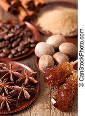 rocher, cannelle, anis, muscade, café, sucre, épices