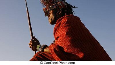 rocher, délassant, tribal, homme, 4k