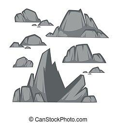 rocher, dessin animé, style., pierre, ensemble, plat, différent, boulders.