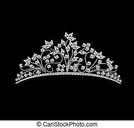 rocher, diadème, mariage, cristaux, féminin