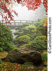 rocher, et, pont, à, jardin japonais