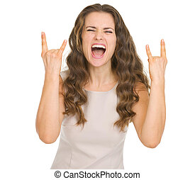 rocher, femme, jeune, faire gestes