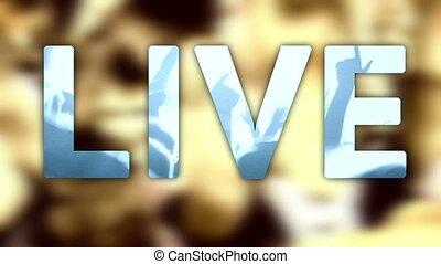 rocher, foule, ventilateur, fond, musique vivante, titre, ...