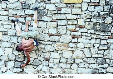rocher, haut, grimpeur, escalade, falaise