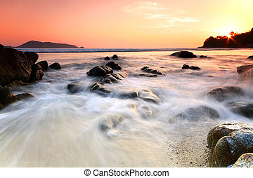 rocher, mer, sunset., composition., nature