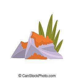 rocher, naturel, illustration, élément, vecteur, conception, granit, herbe, paysage, mousse