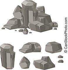 rocher, pierre, ensemble, vecteur, rocher, dessin animé