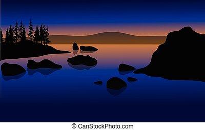 rocher, plage, coucher soleil, silhouette