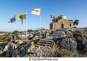 rocher, rue., protaras, église, cyprus., elias