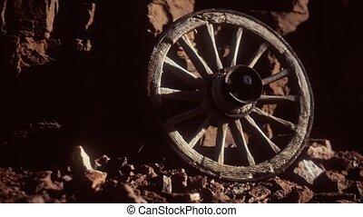 rochers, bois, roue, charrette, pierre, vieux