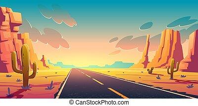 rochers, cactus, route, désert, coucher soleil