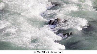 rochers, clair, par, fort, montagne, courant, water., rivière