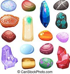 rochers, cristal, pierre, ensemble, icônes