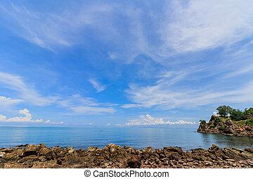 rochers, dans, les, mer, commencement matin, time.