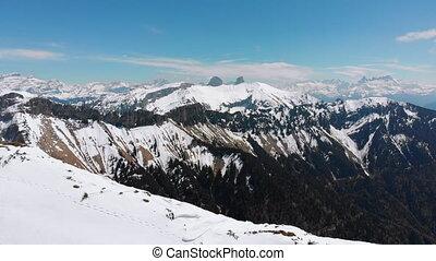 rochers-de-naye., crêtes, montagne, suisse, vue, neigeux,...