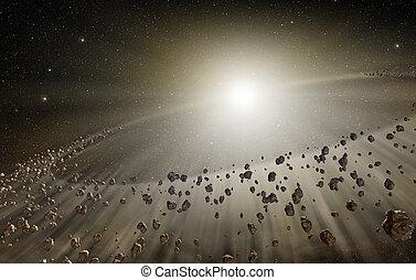 rochers, explosion, briller, profond, espace, dispersé, 3d