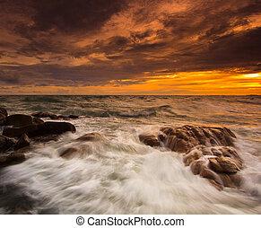 rochers, mer, coucher soleil, les, naturel, paysage