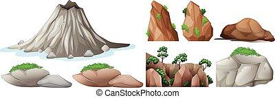 rochers, montagnes, éléments, nature
