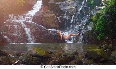 rochers, naturel, waterfall., ultrahd, vidéo, base, touriste...
