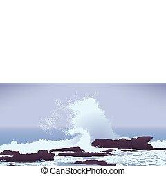 rochers, pacifique, vague grand, océan, briser