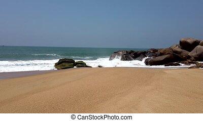 rochers, plage, fracas, vagues, contre